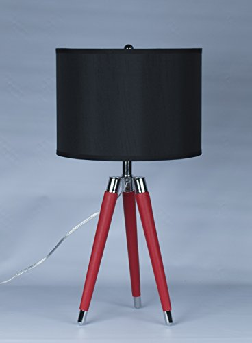 Black Leather Lamp (Urbanest Red Mid Century Modern Tripod Leather & Chrome Table Lamp with 14-inch Black Drum Shade)