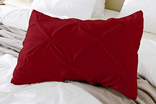 Standard Pillow Shams Set of 2 PC Pinch Pleated Burgundy Pillow Shams Standard 20x26 Pillow Sham Covers 600 TC 100% Egyptian Cotton Hotel Class Bedding Pinch Decorative Standard Size Pillow Shams Set