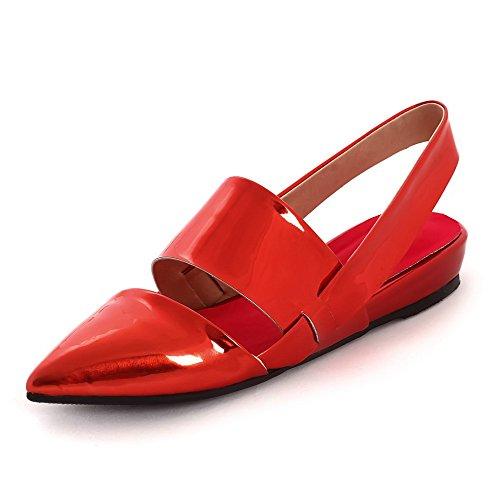 Amoonyfashion Kvinners Patent Skinn Pull På Lukket Tå Lave Hæler Solide Sko Røde