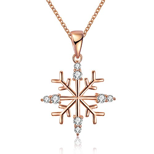 Snowflake Necklace Pendant with Swarovski Elements Crystal Christmas Gifts for Mom Women Girls(Rose Gold-1)