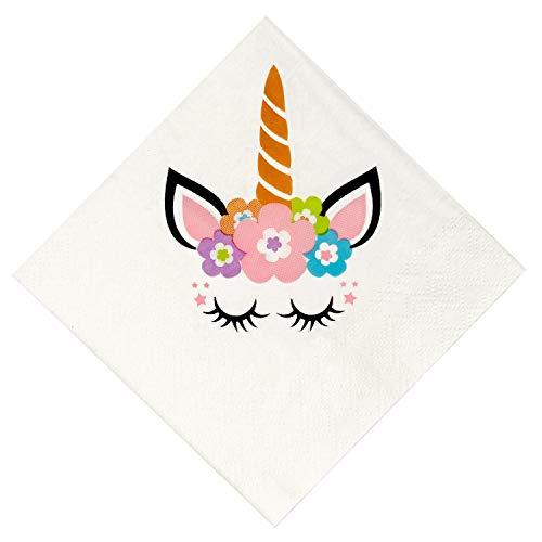 Crisky 100 Pcs Unicorn Napkins for Birthday Party Decoration, Unicorn Decoration, Unicorn Party Supply 3-Ply