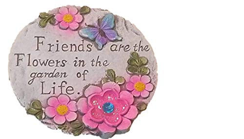 Friend Garden Stone - Round Decorative Stepping Stone with Inspirational Sayings for Outdoor Garden (Garden of Life)