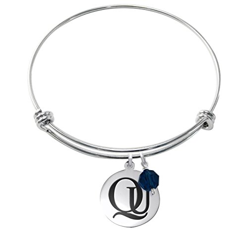 Quinnipiac Bobcats Stainless Steel Adjustable Bangle Bracelet with 17mm Round Charm & Crystal Accent (Quinnipiac University)