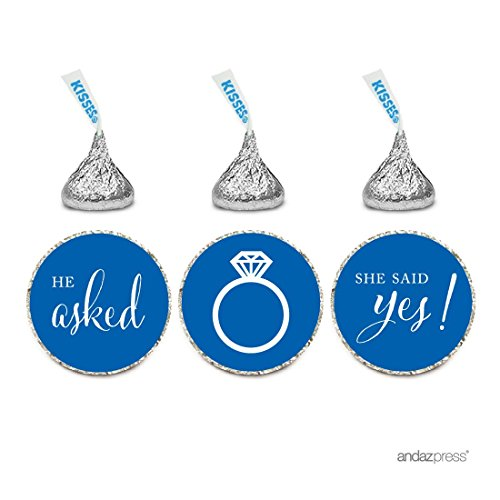 Andaz Press Chocolate Drop Labels Stickers, Wedding He Asked She Said Yes!, Royal Blue, 216-Pack, For Bridal Shower Engagement Hershey's Kisses Party Favors Decor