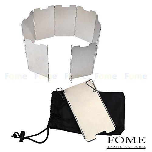 FOME Wind Screens, Sports Outdoors Lightweight Folding Aluminum Camping Picnic Cooker Gas Stove Wind Screen Windshield Windscreen