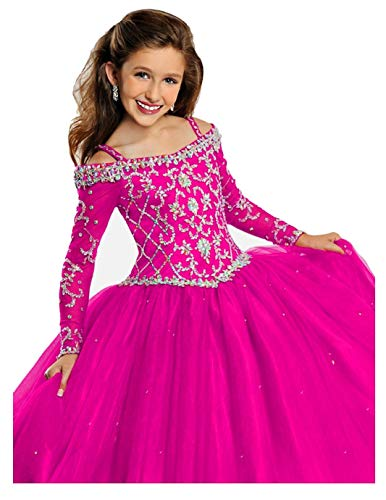 - Glitzs Beaded Crystal Off Shoulder Princess Pageant Gowns for Teens 10 Fuchsia