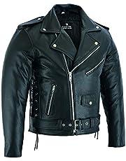 BUSA The Brando rundleer leer Classic Vintage motorjas, zwart, bikers Gear