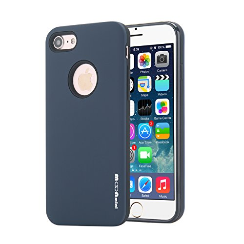 iPhone 7 Case, Moonmini 2 in 1 Ultra Slim TPU Shockproof Protective Cover with PC Hard Frame for iPhone 7 (2016) - Navy Blue (Tpu Frame)