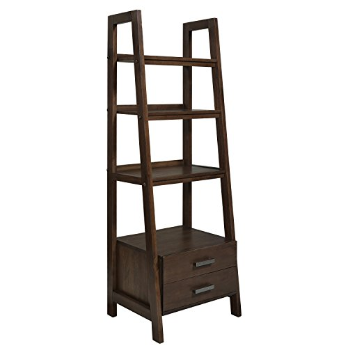 Simpli Home Sawhorse Ladder Storage Shelf, Medium Saddle Brown