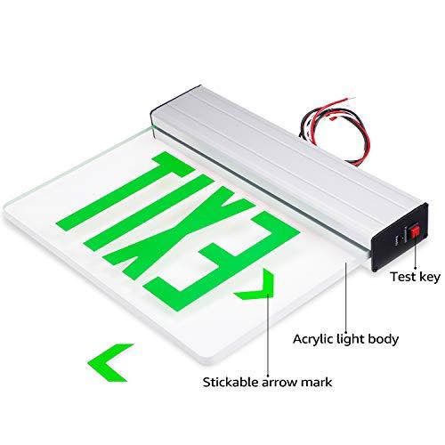 LEONLITE LED Edge Lit Green Exit Sign Single Face with Battery Backup, UL Listed, AC120V/277V, Ceiling/Left End/Back Mount Emergency Light for Hotel, Restaurant, Hospitals, Pack of 6 by LEONLITE (Image #1)