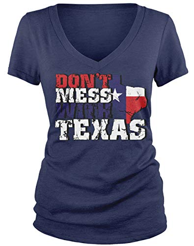 Amdesco Junior's Don't Mess with Texas V-Neck T-Shirt, Navy Blue Large