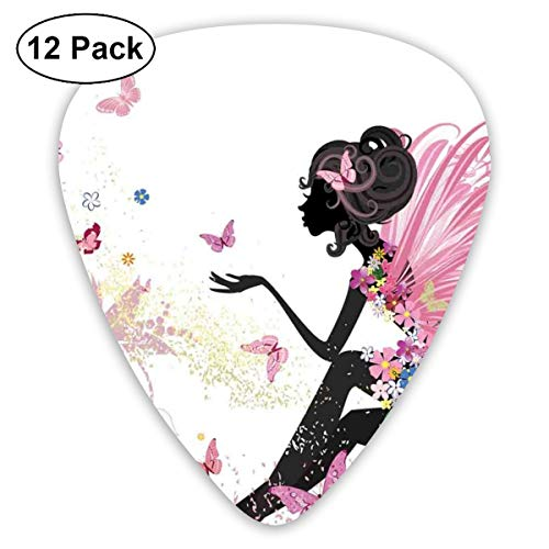 (Guitar Picks 12-Pack,Abstract Silhouette Of A Girl With Pink Wings And A Floral Dress Spring Fairy Theme Art)