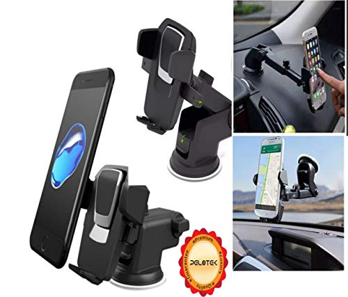 Pelotek: Cell Phone Holder For Car ✮ Universal Phone Holder For Dashboard Mount Windshield Mount ✮ Long Arm Adjustable 360° Rotating Design ✮ Fits All iPhones Samsung LG HTC Pixel GPS & much more.