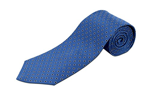 Extra Extra Long Blue Tie with Navy Dots Woven Silk