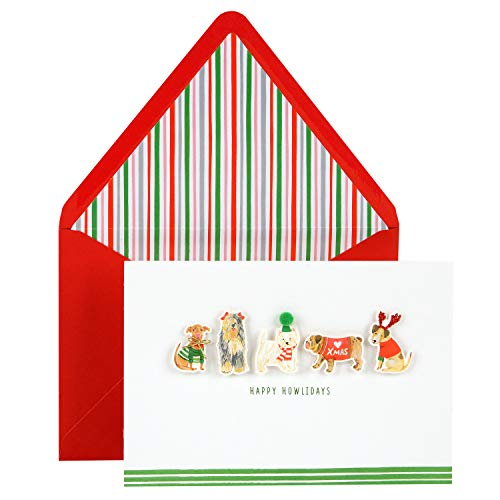 Single Pack Card (Hallmark Signature Holiday Card (Cute Dogs))