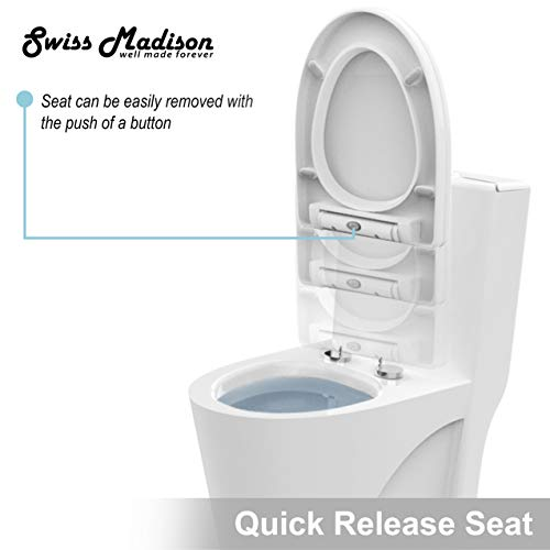 Swiss Madison SM-1T254 St. Tropez One Piece Toilet Dual Tornado Flush 0.8/1.28 GPF with Soft Closing Seat, Comfort Height