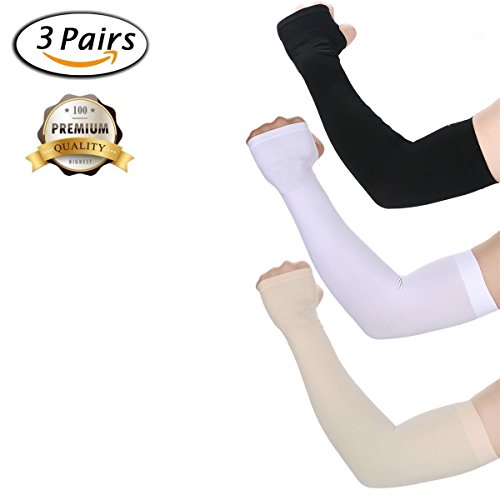 UV Protection Cooling Arm Sleeves Sunblock Cooler Protective Anti-Slip Long Arm Cover Sleeves for Sport Gloves Running Golf Cycling Basketball Football Driving Fishing Hiking Tattoos-Black,White,Beige by Finrray