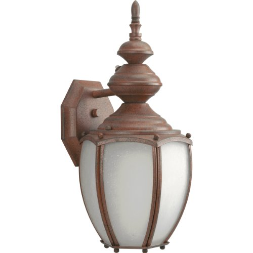 Progress Lighting P5770-33EB One-Light Etched Glass Wall Lantern with Photocell and 120 Volt Normal Power Factor Electronic Ballast, Cobblestone