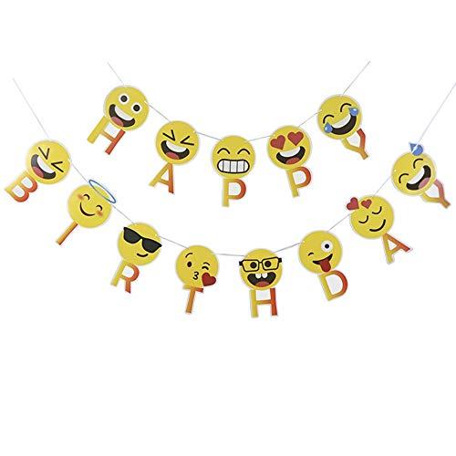 LVEUD Happy Birthday Banner Emoji Happy Birthday Banner Funny Emoticon Party Decoration Wedding Baby Shower