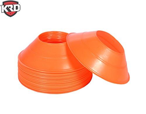 KRD 25 Pack Mini Disc Cones Orange for Soccer Drills ,Agility Training, Football, Kids, Field Marker