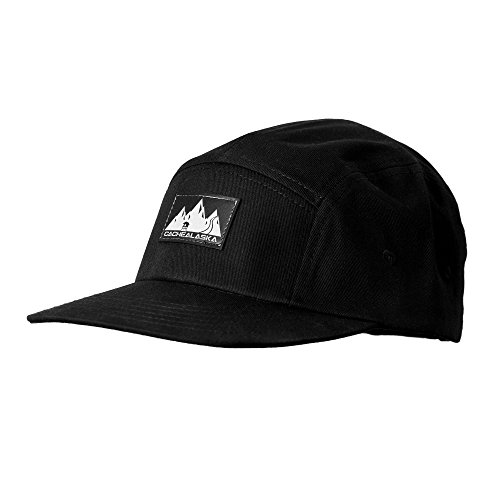 CacheAlaska Panel Hat - Flat Brim Baseball Cap with Snapback Buckel for Men and Women - Black (5 Panel Skateboard Hats)