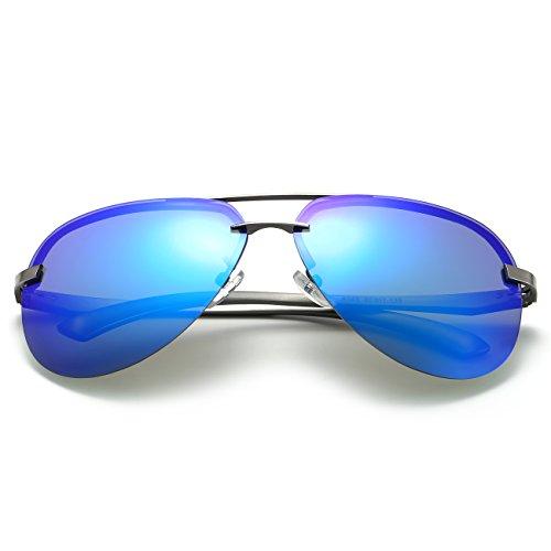 Homme Aviator Lunettes Métal Revo Femme Lentille de Bleu Cadre Alliage JULI Gris Cadre Soleil gWpAcqpS