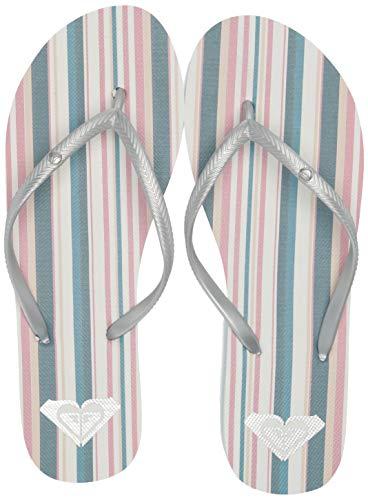 Roxy Women's Bermuda Flip Flop Sandal, Blue/White Stripe, 11 M US