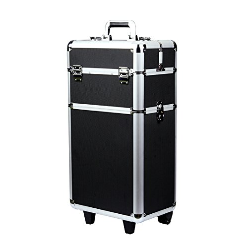 Rolling Makeup Case 3 in 1 Aluminum Professional Trolley Train Case Organizer Cosmetic Box Wheeled Artist Travel (Black) (US STOCK)