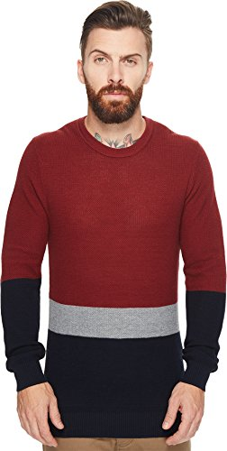 Ben Sherman Men's Textured Color Block Crew Neck, Rust, (Ben Sherman Cotton Sweater)