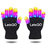 Ouwen LED Gloves for Girls Boys Kids Toddlers Children, Colorful Party Favors for Kids Fun Cool Popular Toys for 3-8 Year Old Boys Birthday Present Gifts for 5-12 Year Old Girls Black White OWUKGT03