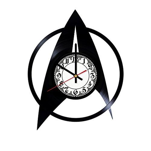 (In Na Star Trek Starship Emblem Design Vinyl Clock, Vinyl Wall Clock, Vinyl Record Clock, Original Gift, Home Decor, Wall Art)