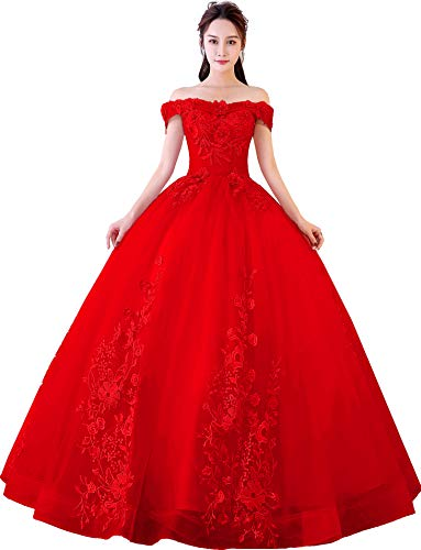Gown Quinceanera New (Okaybrial Women's Sweet 16 Quinceanera Dresses Red Off Shoulder Lace Long Prom Ball Gowns Size 6)