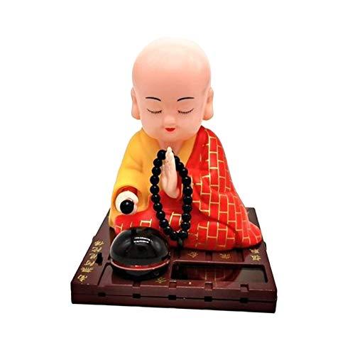 MAGIDEAL 태양 전원 춤 그림 장식 태양 전원 끄덕 머리 춤 장난감 BOBBLEHEAD 인형-불교 스님-노란색
