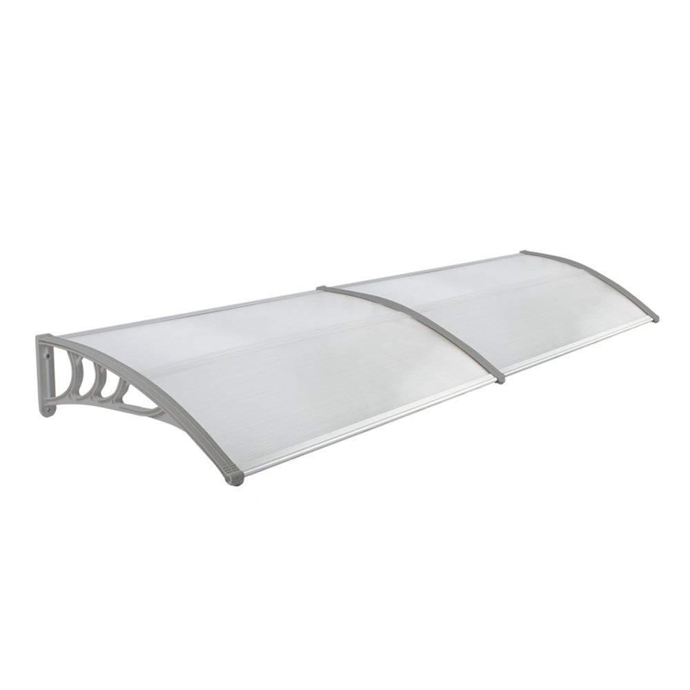 FROADP 300 x 90 cm Tenda esterna Pensilina Tettoie in Policarbonato Impermeabile per Porta Balcone Grigio