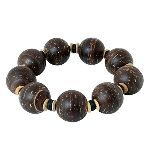 Coconut Coco Bracelets - NOVICA Wood Coconut Shell Beaded Bracelet, 7.5