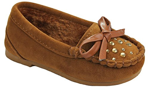 J.J.F Shoes Baby Girls Moccasin Cherry15F Tan Butterfly Rhinestone Faux Soft Suede Fur Lined Loafer Slippers Flats-8