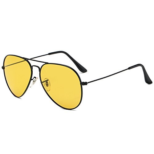 Galulas Night Driving Glasses for Men Women Anti-Glare Polarized Sunglasses Metal Frame Double Bridge Fashion Trendy (Black Frame, Yellow - Father's Sunglasses Day