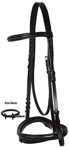SHOWING JUMPING BLACK ENGLISH LEATHER HORSE BRIDLE TACK SET WITH REINS FLASH NOSE BAND (Horse)