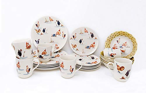 Tudor Royal Collection 24-Piece Premium Quality Porcelain Dinnerware Set, Service for 6 - Rooster;See 10 Designs Inside! ()