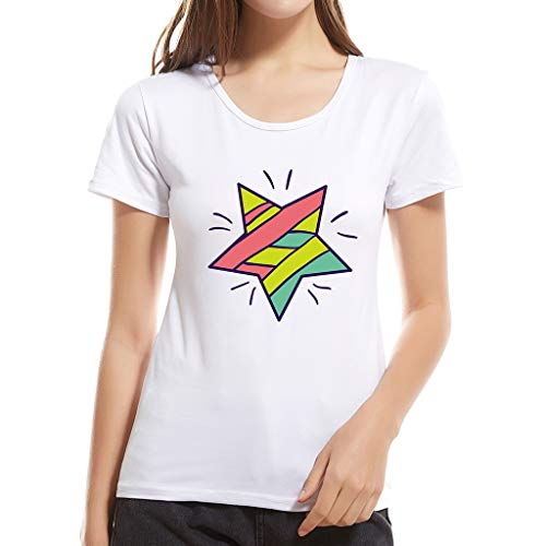 Women's Blouse Simple Comfy Cotton Ladies Pretty Print Sweat-Absorbent and Deodorant T-Shirt