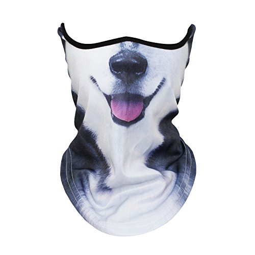 JIUSY 3D Animal Neck Gaiter Neck Warmer Windproof Face Mask Windproof Protection Cover for Ski Snowboard Snowmobile Cycling Motorcycle Riding Halloween Party Outdoor Activities Men Women Husky -