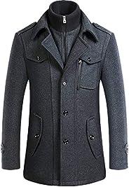 Newbestyle Men's Slim Fit Winter Warm Short Wool Blend Coat Business Ja