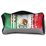 GLing-LIFE Mexican Flag Portable Voyage Pillow Travel Pillow and Eye Mask 2 in 1 Neck Head Support for Airplanes, Cars, Office Naps, Camping, Trains