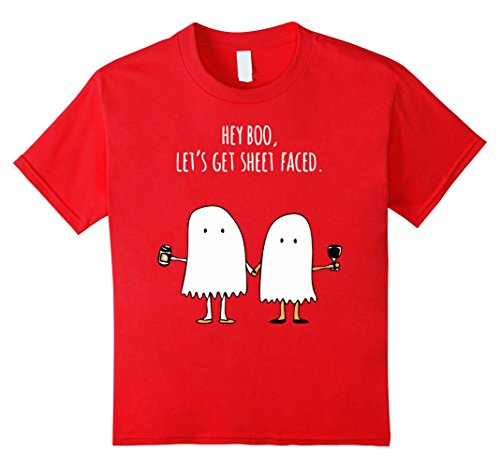 Kids Hey Boo! Let's Get Sheet Faced. Popular Halloween Costume 12 Red