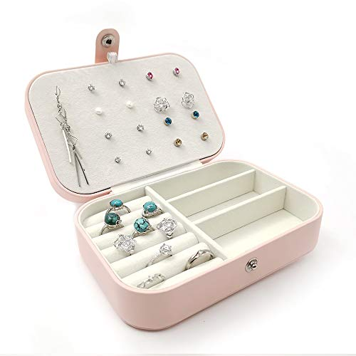 Bepoper Small Jewelry Box Organizer, 2-Layer Travel Portable Display Storage Case for Rings Necklace Earring Studs (Pink…