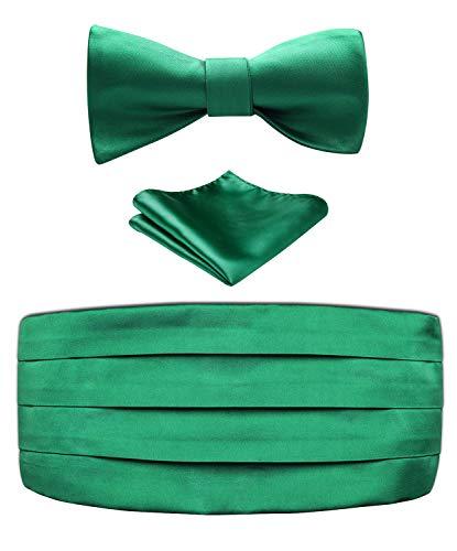 Enmain Men's Formal Cummerbund & Bowtie & Pocket Square Set-Various Solid Colors - Set Cummerbund Green Silk