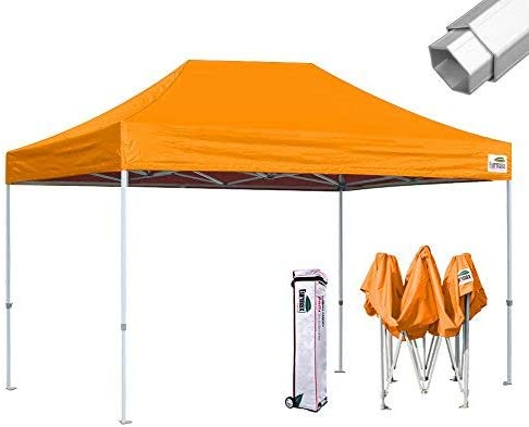 Eurmax Pro 10×15 Pop Up Canopy Wedding Party Tent Instant Outdoor Gazebo Pavilion Canopies BBQ Cater Events Aluminum Frame Commercial Grade Bonus Roller Bag,Orange