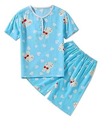 LLIOFUS Little Boys$Girls 2PS Summer Snug-fit Pajamas Soft Cotton Kid pjs set-002