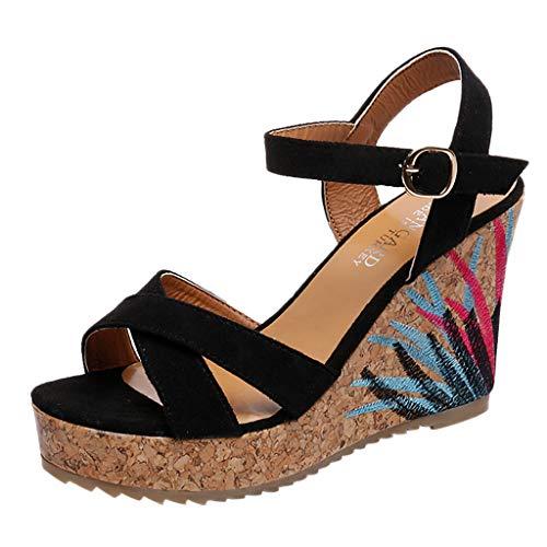 Duseedik Summer Women's Wedge Sandals High Platform Belt Buckle Embroidery Roman Ladies Wedding Outdoor Shoes Black ()
