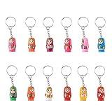 NUOLUX 12PCS Nesting Dolls Key Chains Wood Matryoshka Russian Dolls Key Rings Charms